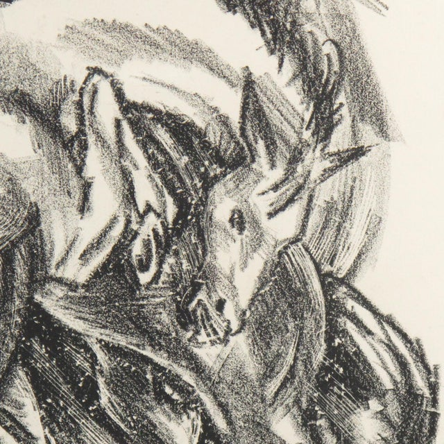 Glass Adolf Uzarski Charcoal Drawing Lithograph For Sale - Image 7 of 11
