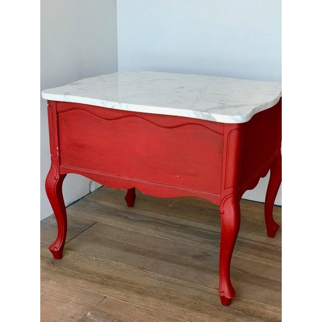 Red Antique Hammary French Provincial Marble Side Tables - A Pair For Sale - Image 8 of 13