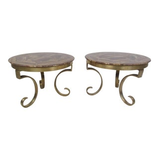 Vintage Onyx and Brass End Tables by Muller of Mexico - A Pair