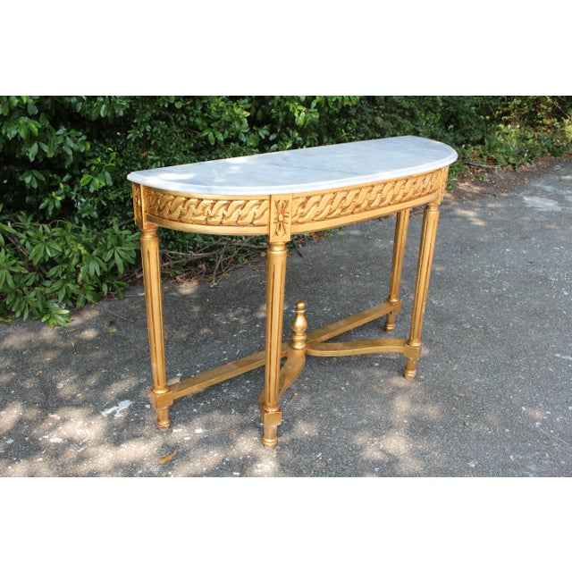 Late 20th Century Vintage French Demi-Lune Table For Sale - Image 4 of 10