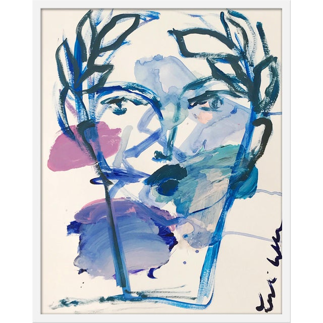 "Contemporary Medium ""Roman Face"" Print by Leslie Weaver, 25"" X 32"" For Sale - Image 3 of 3"