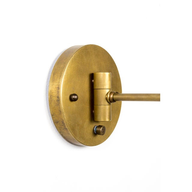 2010s Contemporary Long Arm Hanging Brass Cage Sconce With Circle Motif For Sale - Image 5 of 12