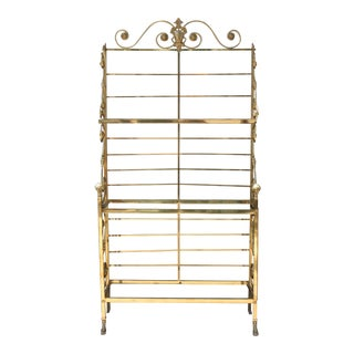 Italian Solid Brass Bakers Rack For Sale