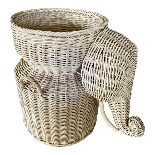 Vintage Coastal Wicker Elephant Basket For Sale
