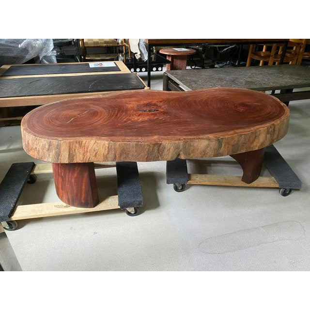 Wood Live Edge Cocktail Table, Belgium 1960's For Sale - Image 7 of 8