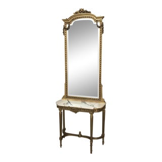 19th Century French Louis XVI Marble Top Giltwood Console With Mirror For Sale