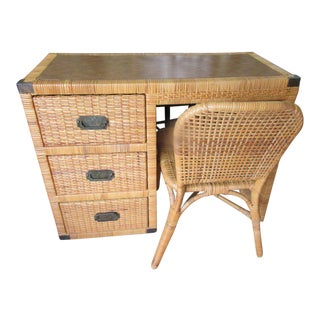 Island Style Rattan Wrapped Desk & Chair