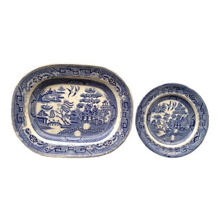 Antique Transferware Blue Willow Platter & Plate - Set of 2 For Sale