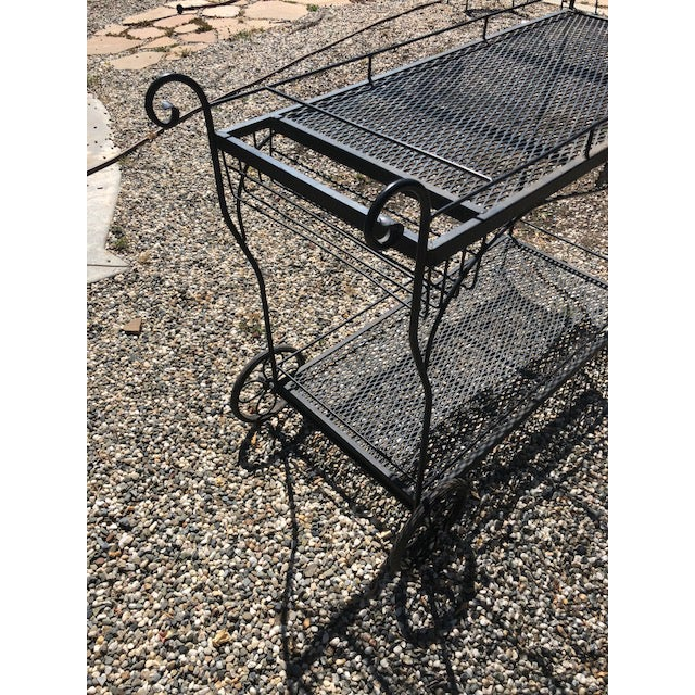 Vintage Russel Woodard Wrought Iron Drink/Bar/Flower Pot Cart For Sale In San Francisco - Image 6 of 7
