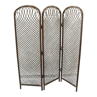 1990s Mid-Century Bent Bamboo and Rattan Dividing Screen For Sale