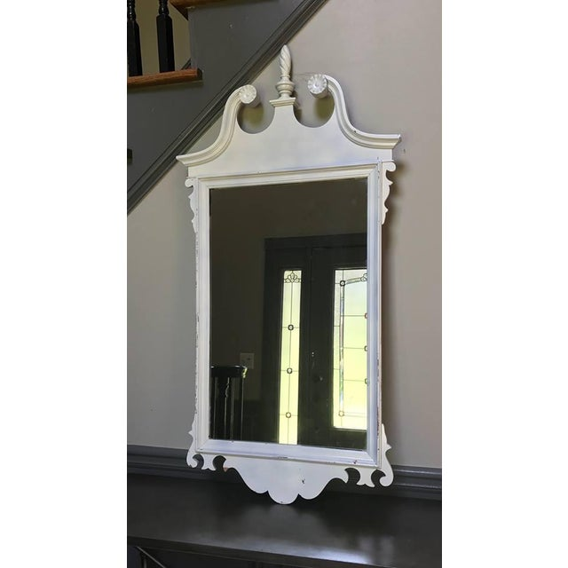 English Traditional Neoclassical White Mirror For Sale - Image 3 of 6