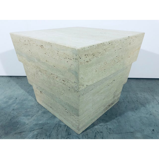 1970s Mid-Century Modern Italian Travertine Pedestal For Sale - Image 4 of 12