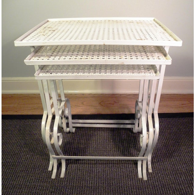 White Metal Nesting Tables - Set of 3 - Image 4 of 8