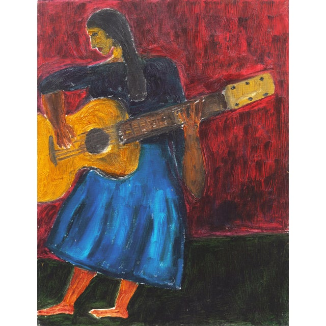 'Woman Playing Guitar' by Jonathan Taylor, California Post Impressionist Oil, Moss Landing For Sale