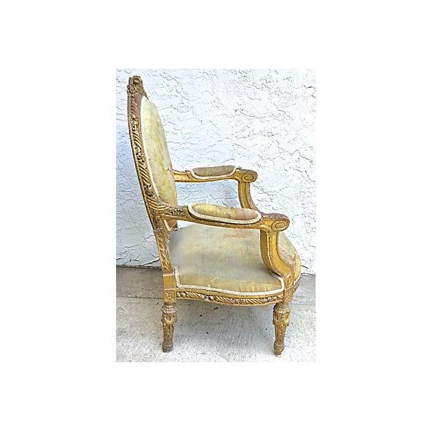 Charles X Antique Aubusson Fauteuil For Sale - Image 4 of 11
