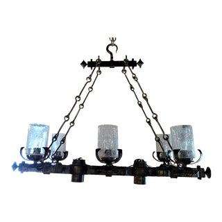 1960s Spanish Gothic Style Large Rectangular Hammered Iron Chandelier For Sale
