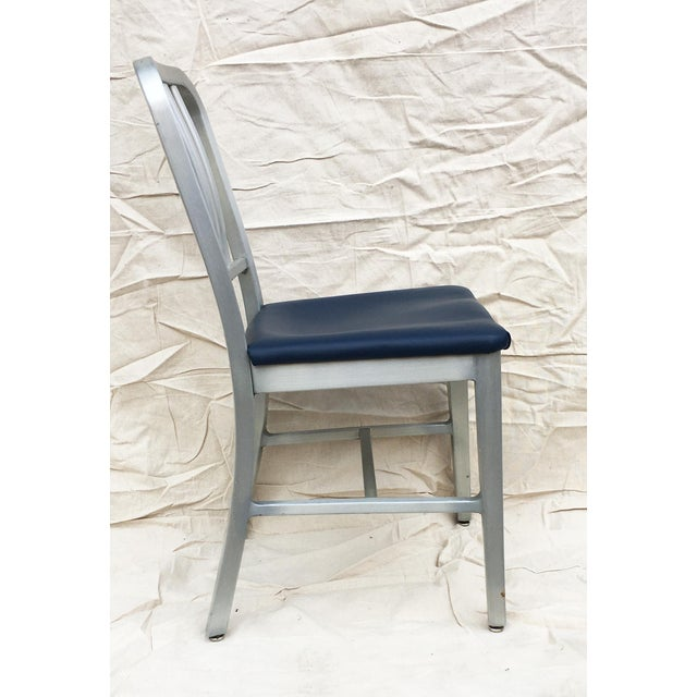 Mid-Century Modern Vintage GoodForm Aluminum Chairs With Navy Leather For Sale - Image 3 of 8