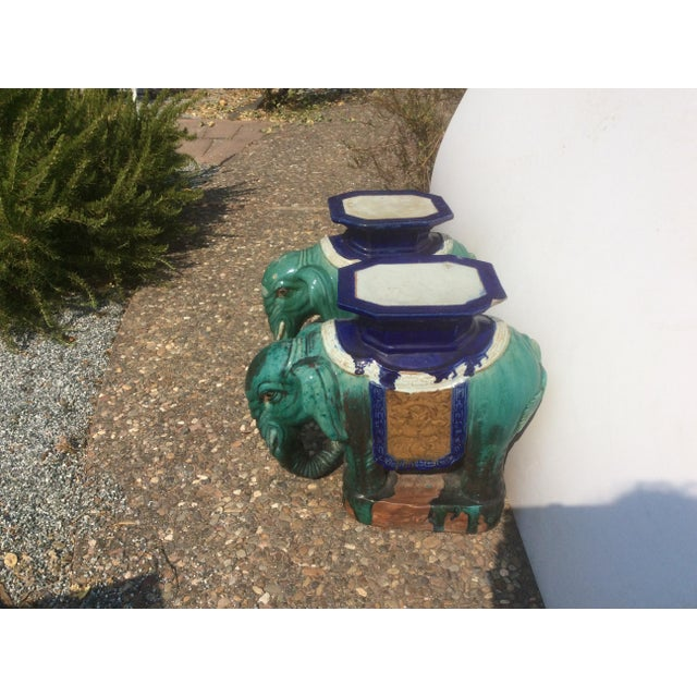 Pair of Antique Chinese Ceramic Elephant Garden Stools For Sale - Image 9 of 10