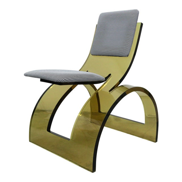 Rare Sculptural Cantilevered Vintage Arched Colored Lucite Corner Lounge Chair For Sale
