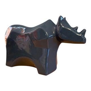 Vintage Modern Ceramic Rhino Figurine For Sale