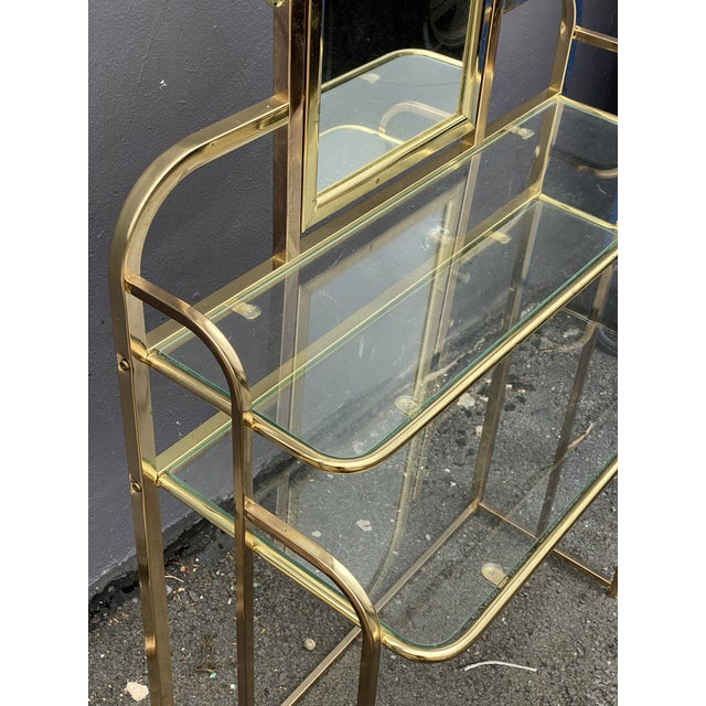 1950s Mid Century Brass Vanity Table and Chair For Sale - Image 5 of 13