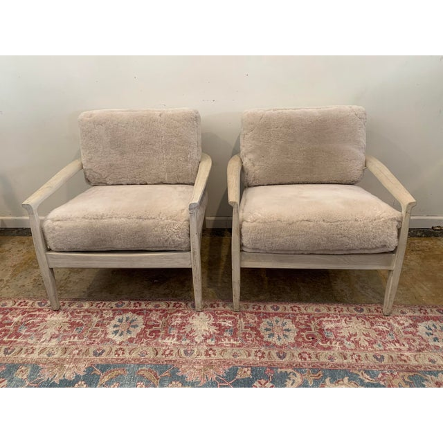 Mid-Century Inspired Shearling Lounge Chairs - a Pair For Sale - Image 12 of 12