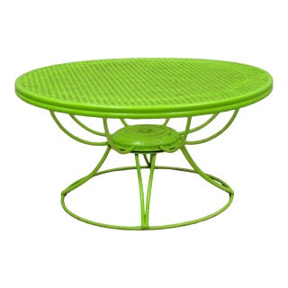 Vintage Mid Century Modern Homecrest Siesta Round Metal Mesh Revolving Coffee Table For Sale