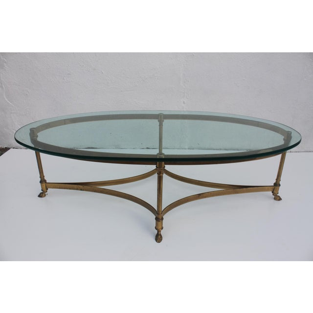 Italian Labarge Brass Hoofed Feet Oval Coffee Table