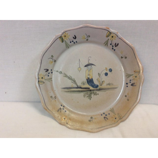 Asian Fishing Scene Painted Ceramic Plate - Image 2 of 4