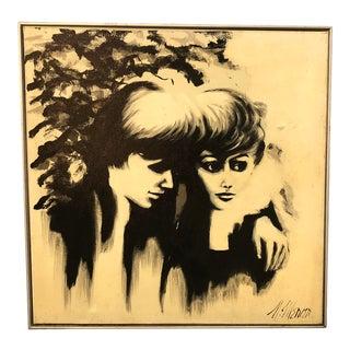1960s Boy & Girl Black Painting