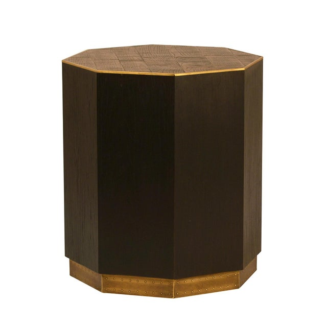 Contemporary Dark Oak & Brass Octagon Side Table For Sale - Image 3 of 3