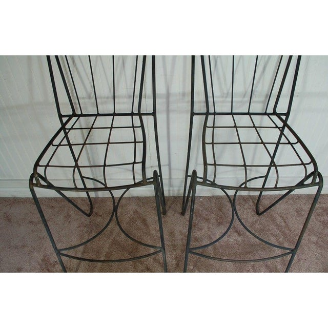 Mid Century Modern Wrought Iron Hairpin Bar Stools - A Pair - Image 4 of 11