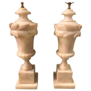 Pair of French Neoclassical Style White Alabaster Urn Shaped Table Lamps For Sale