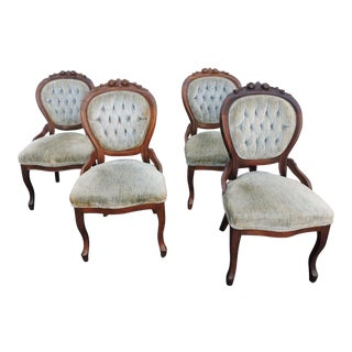 Early Victorian Set of Four Carved Mahogany Living Dining Room Chairs For Sale