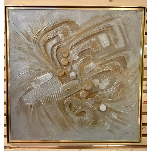 Vintage Mid-Century C. Frederick Metallic Abstract Painting For Sale - Image 9 of 9
