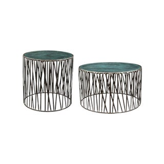 Rustic Garrard Round Metal Side & Coffee Table Set - 2 Pieces For Sale