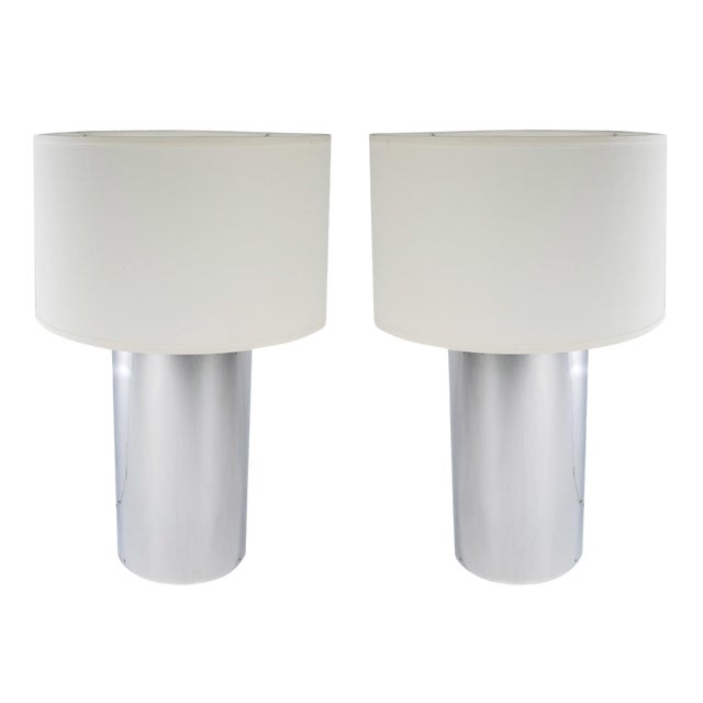 Pair of Large Chrome Cylinder Lamps by George Kovacs, Circa 1970s For Sale