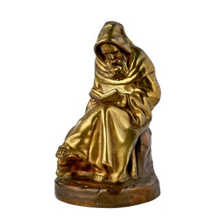 Bronze Sculpture of Seated Monk Reading For Sale