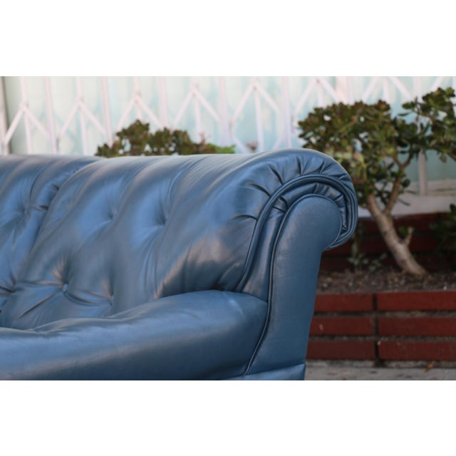 Teal Leather Sofa - Image 8 of 11
