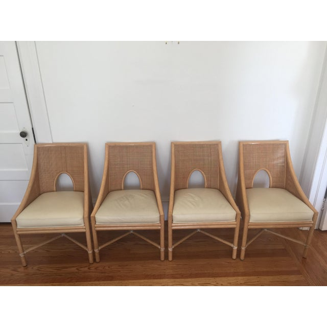 McGuire Barbara Barry Petite Caned Arm Chairs - Set of 4 - Image 2 of 10