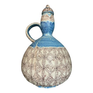 1960s Vintage Guido Gambone Italian Hand-Painted Blue and White Lava Glaze Pottery Jug Sculpture For Sale