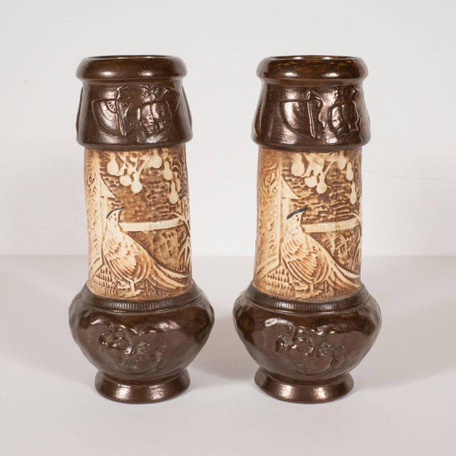 Pair of Art Deco Hand-Painted Ceramic Vases With Orientalist Motifs by Bretby For Sale - Image 4 of 12