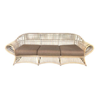 Vintage Pencil Reed Rattan Sofa For Sale