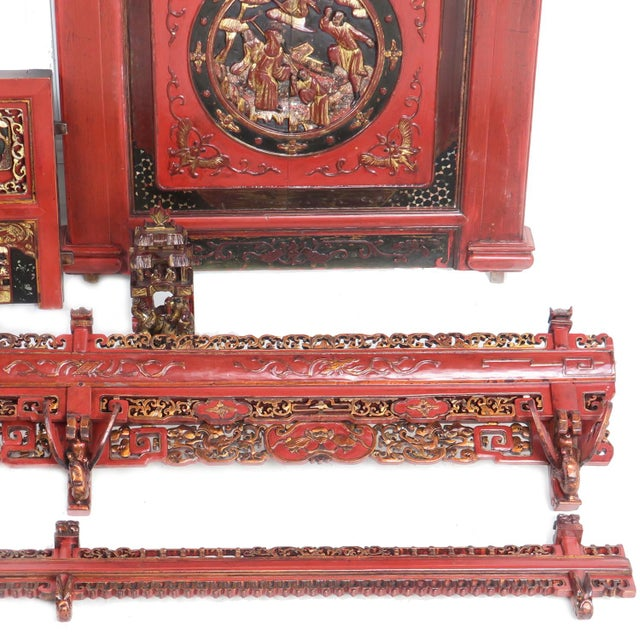 Chinese Opium Wedding Bed Intricately Carved Panel For Sale - Image 11 of 13
