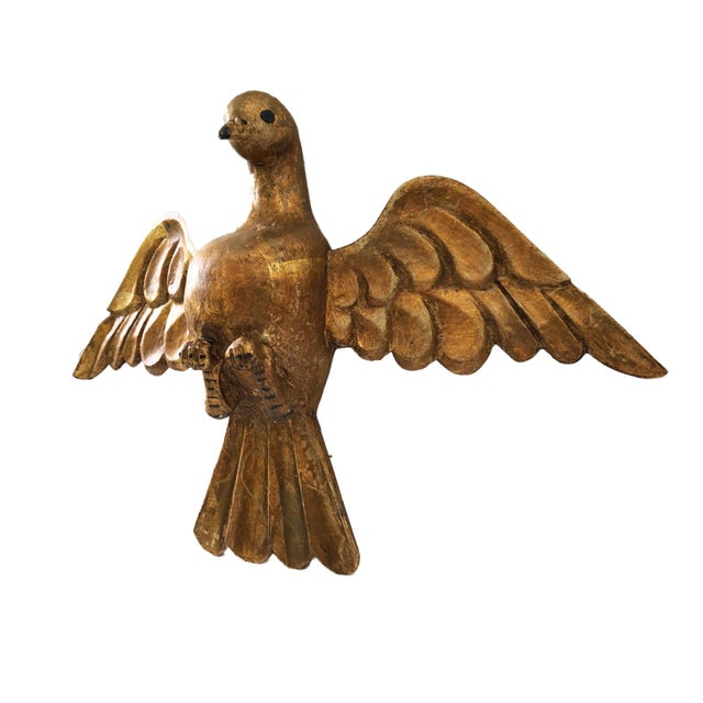 "Lg Old Santos Wooden Holly Spirit Dove/Bird 9""h by 13.5"" W For Sale - Image 4 of 9"