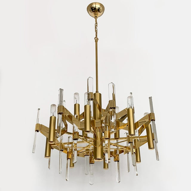 Gold-Plated Brass and Crystal Chandelier by Gaetano Sciolari For Sale - Image 9 of 12
