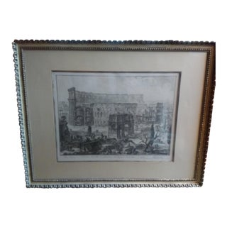 """18th Century Original """"The Arch of Constantine and the Colosseum"""" Engraving by Piranesi For Sale"""