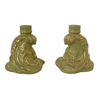 Vintage 1960s Holland Mold Green and Gold Flower Candle Holders - a Pair For Sale