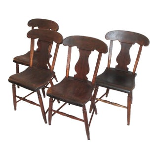 Set of Four 19th Century Original Painted Plank Bottom Chairs For Sale