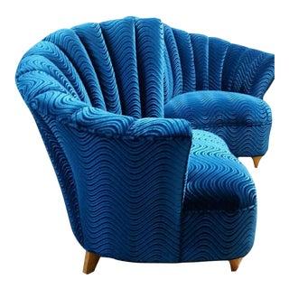 Mid-Century Hollywood Regency Blue Velvet Club Chairs - a Pair
